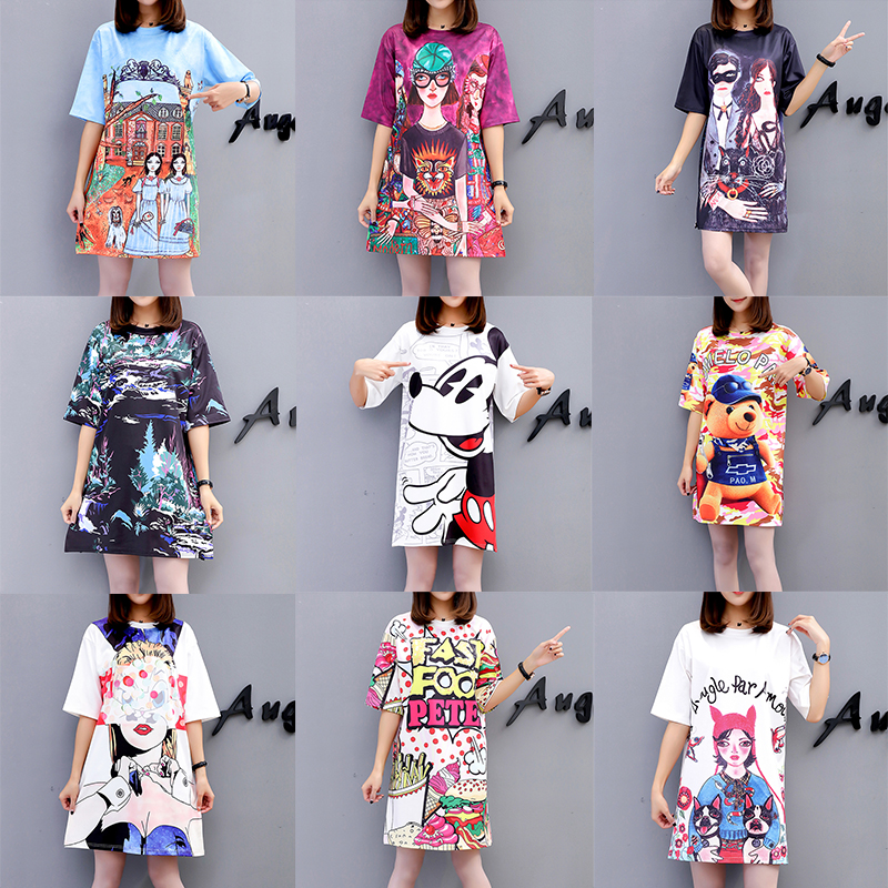 13 Colors 2019 New Spring Summer Europe Version Fashion Cartoon Printe Women Shirt Collar Short Sleeve Female Loose T shirt in T Shirts from Women 39 s Clothing