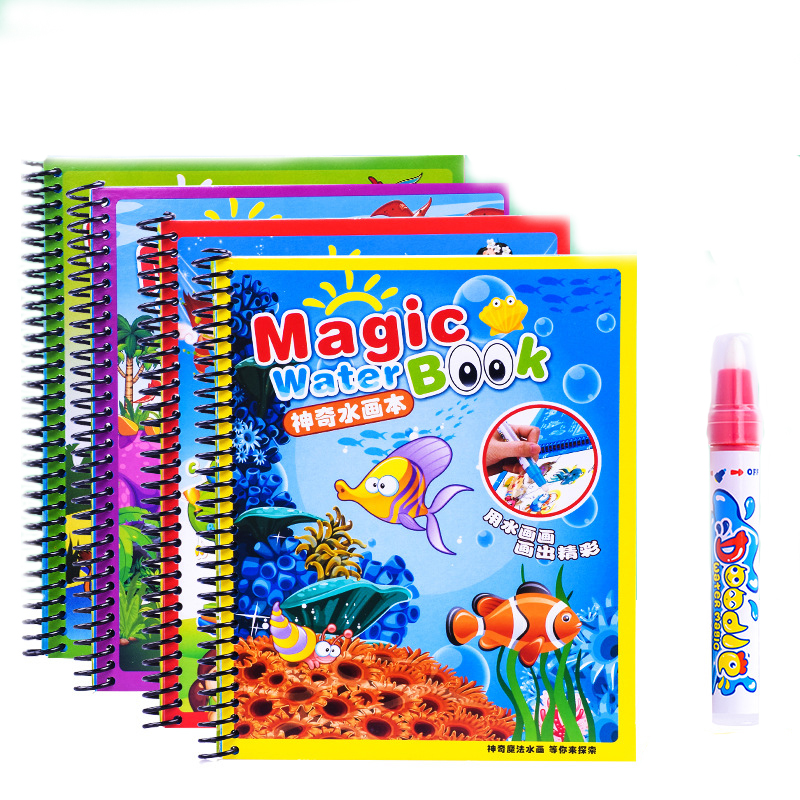 Creative Drawing Toys Water Paint Cartoon Coloring Notebook Doodle With Magic Pen Education Drawing Toys Set For Children Kids