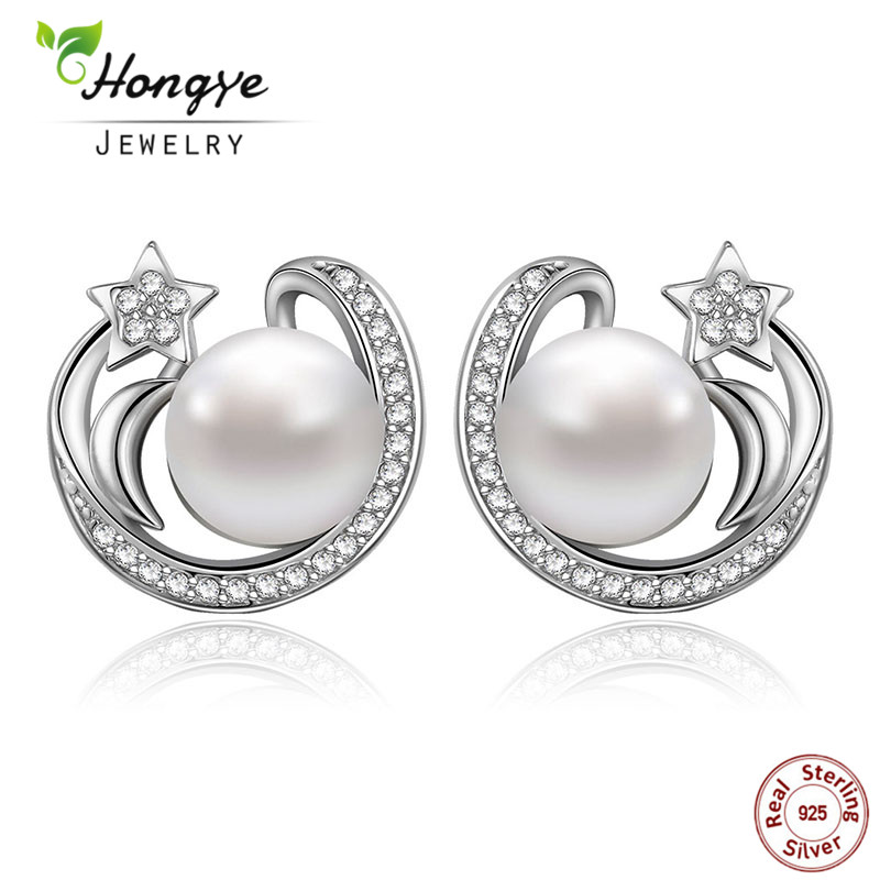 Hongye New Fashion 925 Sterling Silver Star & Natural Freshwater Pearl Stud Earrings For Women Jewelry Sweet Cute Gift Party