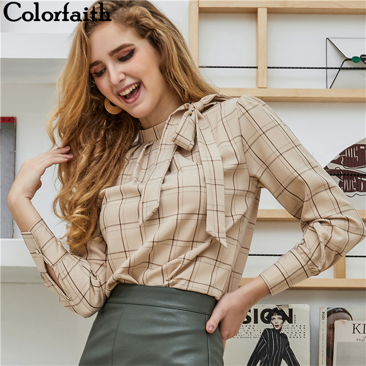Colorfaith New Women Blouses Shirts 2019 Spring Summer Fashion Elegant Office Ladies Lace Up Bow Chiffon Plaid Tops shirt BL506 formal wear