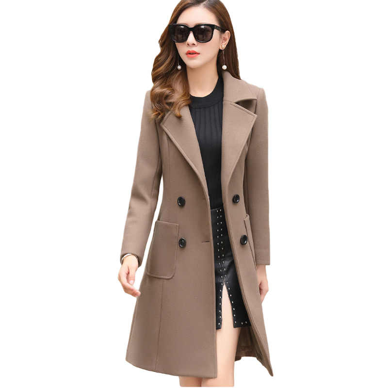 VogorSean Women Winter Wool Coats Warm 2019 Slim Fit Fashion Casual Office Lady Blends Womans Coat Jacket Khaki Plus Size New