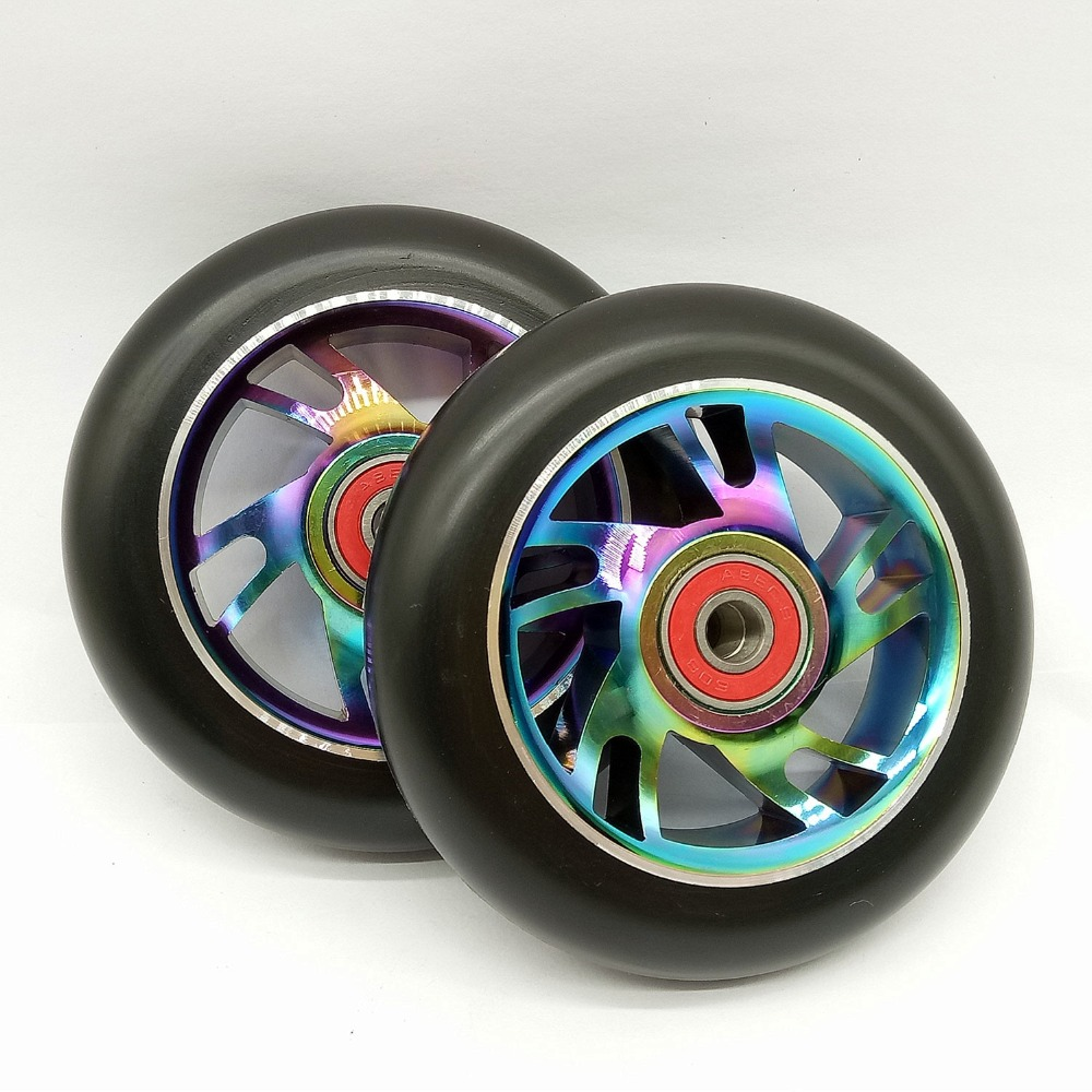 Image 2 - 2PCS 100mm Freestyle Stunt Scooter Wheels 88A With High elastic PU Colorful Aluminum Alloy Hub ABEC 9 22*8*7mm Bearings-in Scooter Parts & Accessories from Sports & Entertainment
