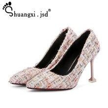 Лето 2017 г. Новый Серебряный высокий каблук туфли с мелким носком на высоком 9 см Женская обувь нормальный размеры 34–39 Zapatos Mujer tacon Chaussure Femme