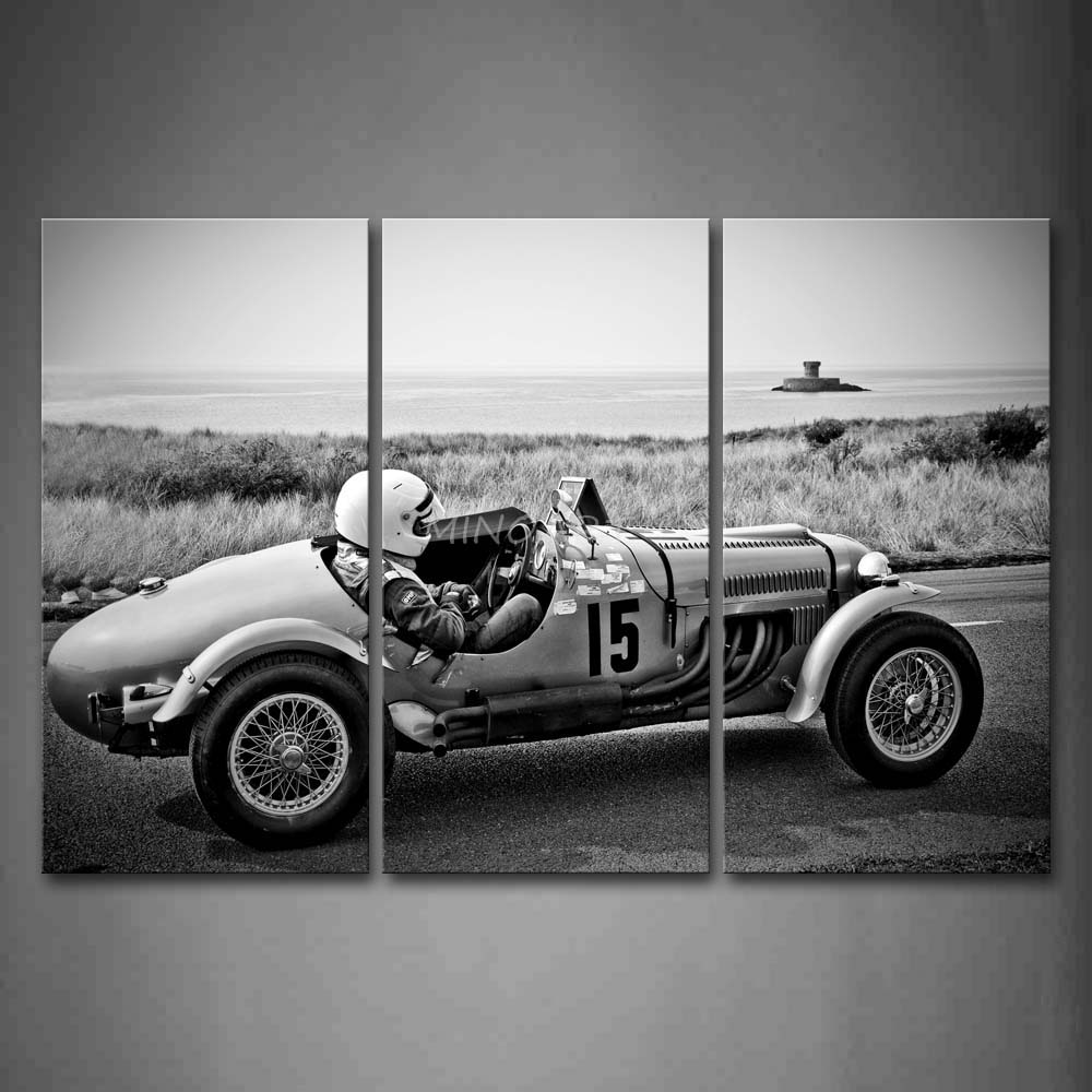 3 piece black and white wall art painting man drive a auto racing car near sea print on canvas. Black Bedroom Furniture Sets. Home Design Ideas