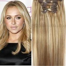 16″-32″  Brazilian Virgin Remy Hair Clips In Human Hair Extensions Full head 7pcs Set 70g 80g 100g 120g 140g  #12/613