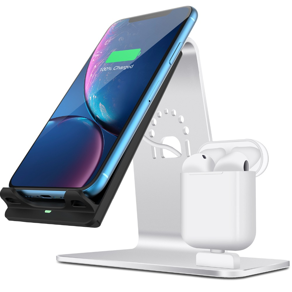 Bestand 2 in 1 Airpods Stand Wireless Charging Desktop Tablet Dock for iPhone X/8Plus/8/7 PlusBestand 2 in 1 Airpods Stand Wireless Charging Desktop Tablet Dock for iPhone X/8Plus/8/7 Plus