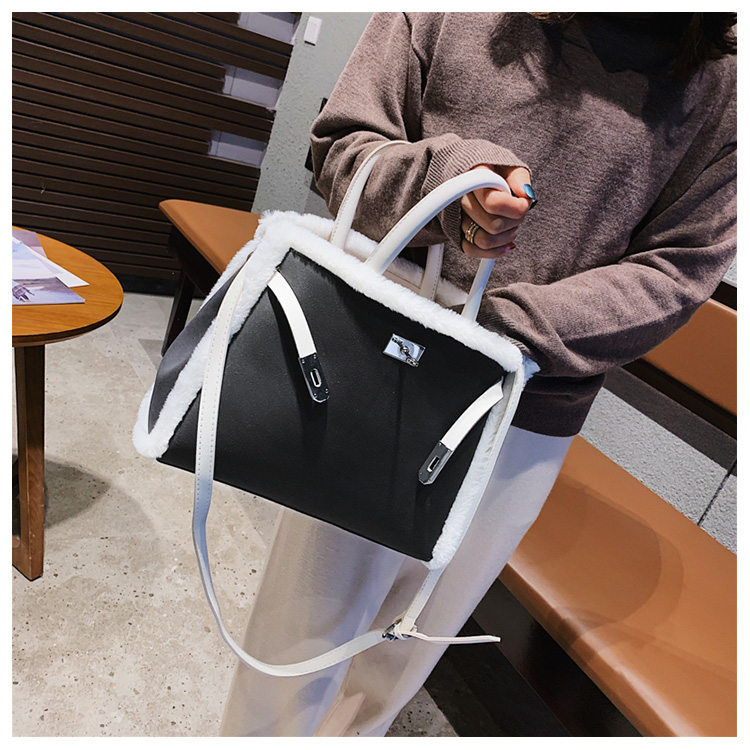 Korean handbag large capacity bucket hand bag designer big tote designer Fur women messengerc winter shopping wool no lock 107