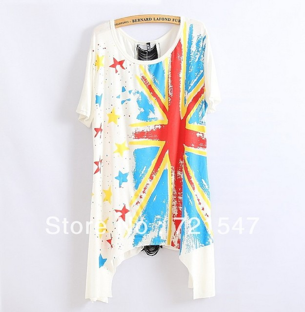 2013High quality printed tear tape splicing star hollow out tuxedo women's short sleeve T-shirt.3colors