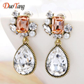 DuoTang New Vintage Gold Plated Clear Crystal Geometric Stud Earrings Korean Fashion Rhinestone Earrings Woman Jewelry Gift