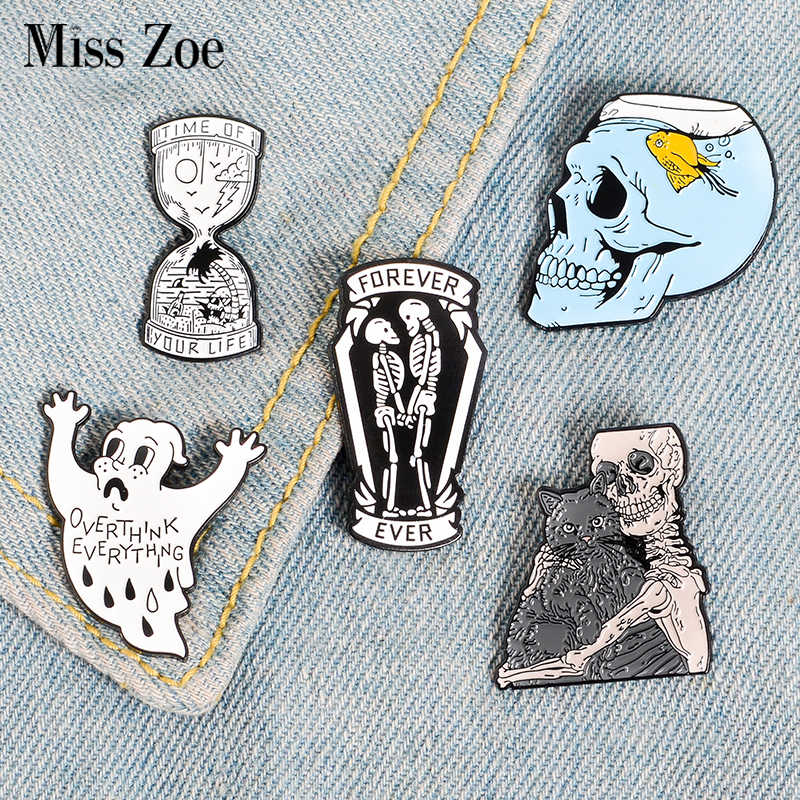 Uw Leven Zandloper Emaille Pin Ghost Skelet Vis Tank Schedel Badge Broche Tas Denim Shirt Revers Pin Gothic Kat Sieraden gift