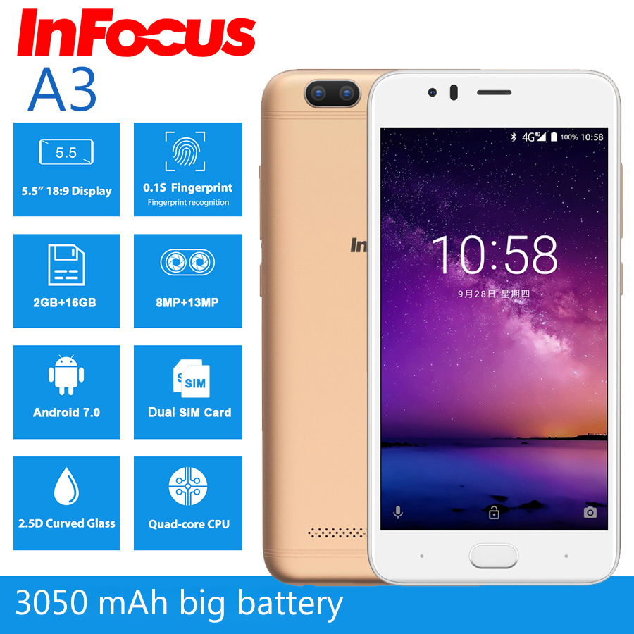 """Image 2 - Infocus A3 mobile phone 5.2"""" LTE 4G smartphone 2GB +16GB 3050mAh Quad core phones fingerprint Dual came Android 7.0 cell phones-in Cellphones from Cellphones & Telecommunications"""