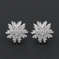 Christmas Gift Shiny Cubic Zirconia Snowflake Stud Earrings Solid 925 Sterling Silver Floral Jewelry For Ladies