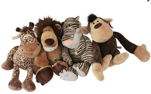 free shipping,lovely jungle lion , tiger, monkey, giraffe,about 25cm ...