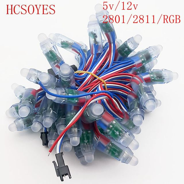 50PCS/lots DC5V/12V WS2811 WS2801 RGB IC led pixel module  12mm Digital Full Color  Independently addressable String waterproof