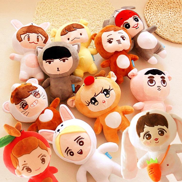 23cm KPOP EXO Plush Doll Kawaii Korea Fashion Superstar Kyungsoo D.O Baek Hyun Chan Yeol Kai Figure Plush Toys Girls Fans Gift