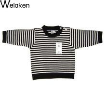 2016 Specials Baby Striped Sweater Little children Boys girls Long Sleeve Cotton Warm Outwear Shoulder Buttons Kids Sweater