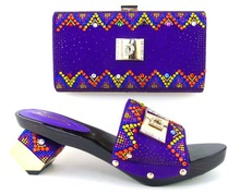 Nice-looking Italian matching shoe and bag sets for party / wedding, purple African women shoes and bag set! MLQ1-5