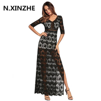 2018 Hollow Out Lace Long Dresses Women Maxi Boho Sexy V Neck Half Sleeve Tunic High
