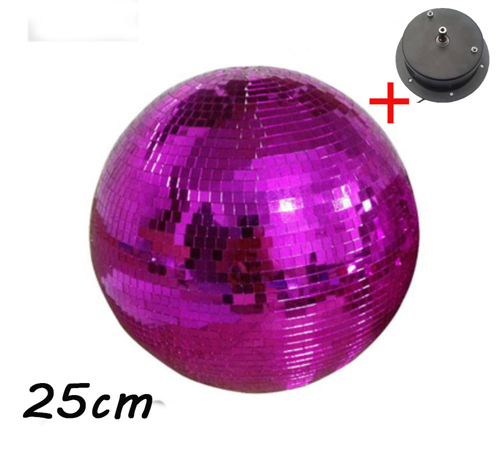 D25cm diameter Pink glass rotating mirror ball 10