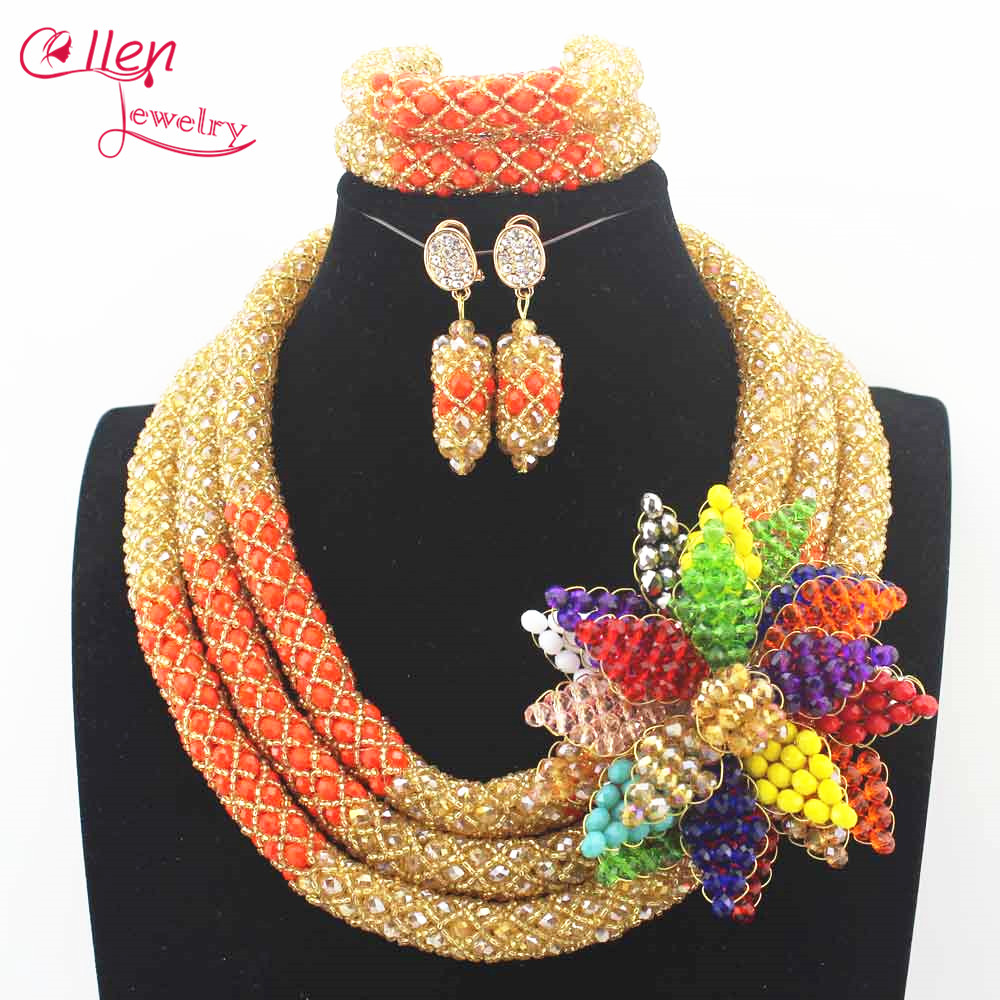 цена Colorful Handmade crystal flower Nigerian wedding Bridal Necklace Set African Beads Jewelry Set necklace Bracelet Earrings N0017 онлайн в 2017 году