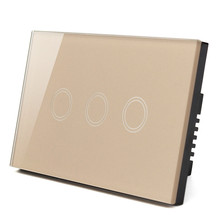 US standard, Wall Switch, Black White Gold Glass Panel, AC 110V-240V, LED indicator, 3 Gangs 3 Way Touch Control Light Switch