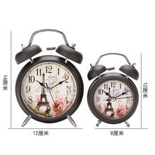 Vintage mesita de noche campana sonora despertador y luz de noche flor silenciosa + reloj de mesa escritorio torre de hierro dormitorio relojes de oficina decoración del hogar