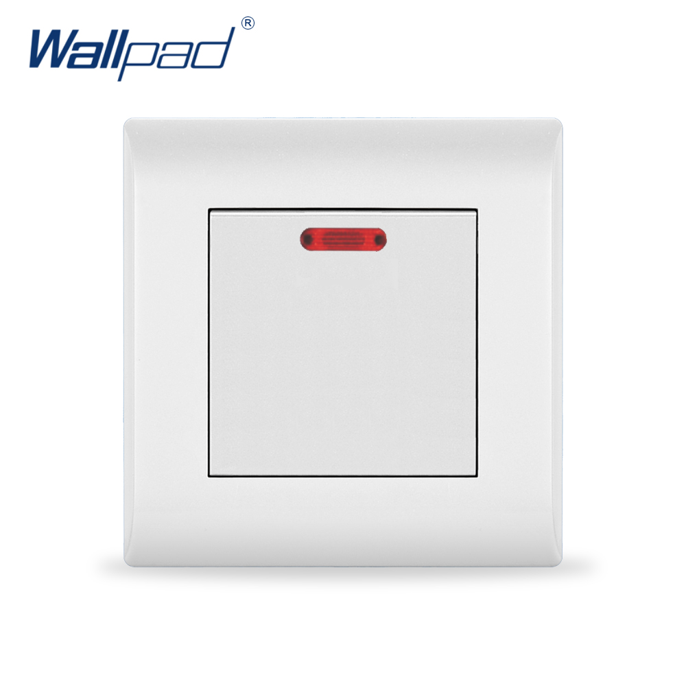 цена на 2018 New Arrival 20A Switch Water Heater Switch Wallpad Luxury White Wall Light Switch AC110~250V EU/UK Standard