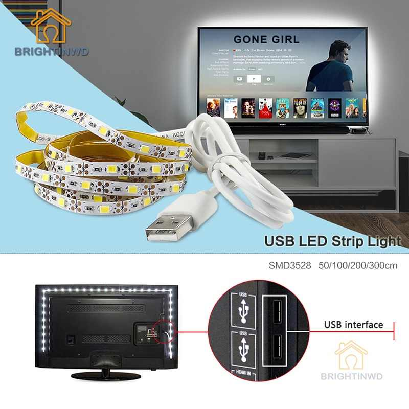 Latar Belakang TV 5 V USB LED Strip Pencahayaan 50 CM 1 M 2 M 3 M Kabel Lampu Strip LED liburan String Lampu