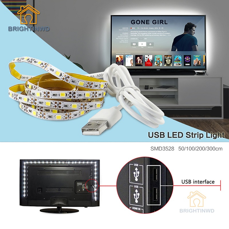 5 V TV Latar Belakang Pencahayaan USB LED Strip Lampu SMD3528 50 CM 1 M 2 M 3 M Kabel LED Strip Cahaya Lampu Liburan BRIGHTINWD
