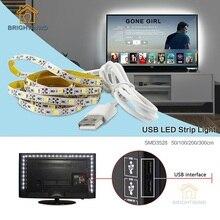 TV Background 5V USB LED Strip Lighting 50CM 1M 2M 3M Cable LED Strip Light Holiday String Lights