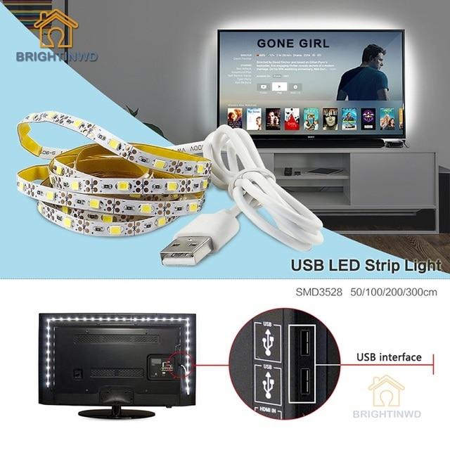 Светодиодные ленты USB SMD3528 огни 50 см 1 м 2 м 3 м кабель LED 5 В usb полосы света ТВ задний план Освещение не Водонепроницаемый Праздничные огни