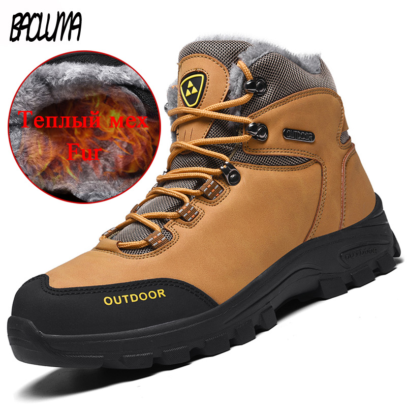 Brand Classic Men Winter Snow Boots Super Warm Fur Male Ankle Boots Waterproof Non-slip Hiking Shoes Male Autumn Basic Shoe