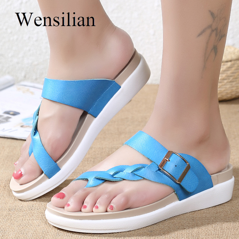 Women Summer Sandals Genuine Leather Platform Shoes Casual Ladies Flats Slippers Beach Leisure Slides Zapatos Mujer bbb