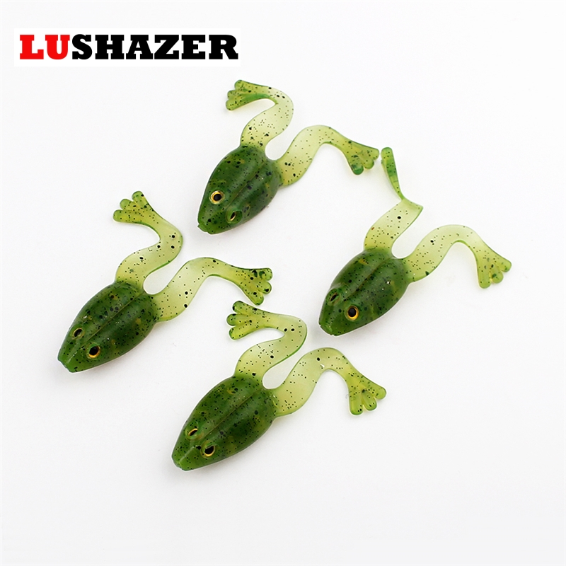 LUSHAZER 4pcs/bag new arrival frog lure rubber soft lure 60mm 5g fishing smell fishing lure frog bait free shipping fishing lure kit metal lure soft bait plastic lure wobbler frog lure free shipping