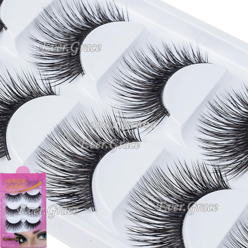 ICYCHEER ICYCHEER 5 Pairs Natural Soft Eye Lashes Makeup Handmade Thick Fake False Eyelashes Black & Brown