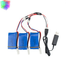 7.4v Lipo battery 1500mAh batteries 3pcs and USB charger  for Feilun FT009 2.4G RC Racing boat Spare Parts wholesales