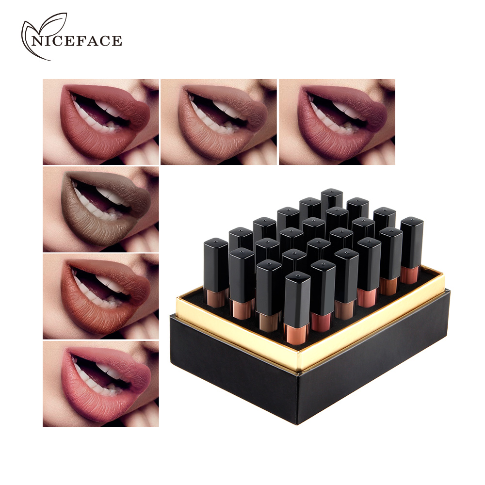 Niceface Color 24 Shades Matte Nude Liquid Lipstick Lip Stick Long Lasting Waterproof Pigment Matte Makeup Lip Gloss Set Gift