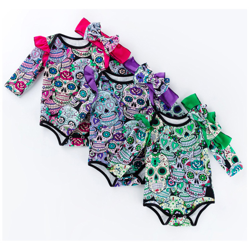 Halloween costume baby cotton skull pattern long sleeve baby romper toddler baby onesie newborn baby clothes roupa infantil R25