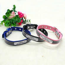 Reflective Personalized Dog Collar Leather Dog Cat ID Collar Custom Engraved Puppy Nameplate Collars For Small Pets Cats XS-M