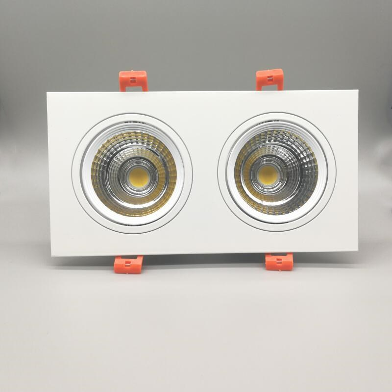 Купить с кэшбэком Popular Square  2* 10W Dimmable COB LED Downlights CRI>88 Double Fixture Recessed Ceiling Down Lights Lamp
