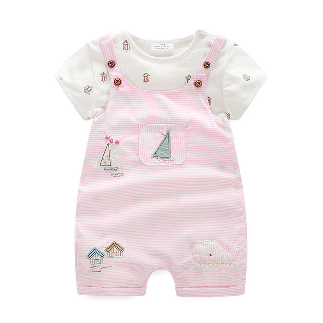 2017 Baby Girl Clothes Summer Newborn Infant Clothing Set Baby Girl Sets Pink Striped Bodysuit +Pant Birthday Outfits