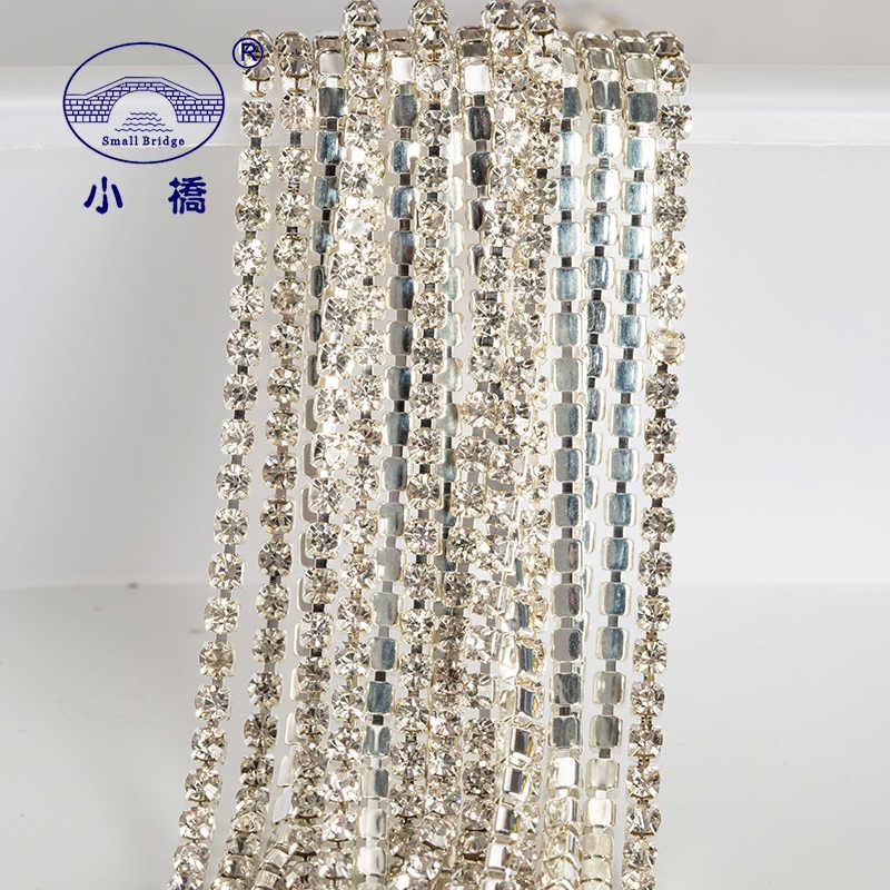 1 jarda/pacote glitter strass de cristal para a roupa flatback solto costurar na corrente strass de vidro ab com garra z200