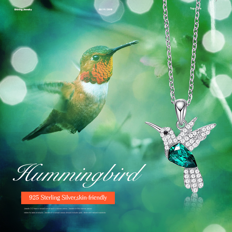 Image 2 - Cdyle Hummingbird Jewellery 925 Sterling Silver Link Chain Necklace Embellished with crystal Women Pendant-in Pendant Necklaces from Jewelry & Accessories
