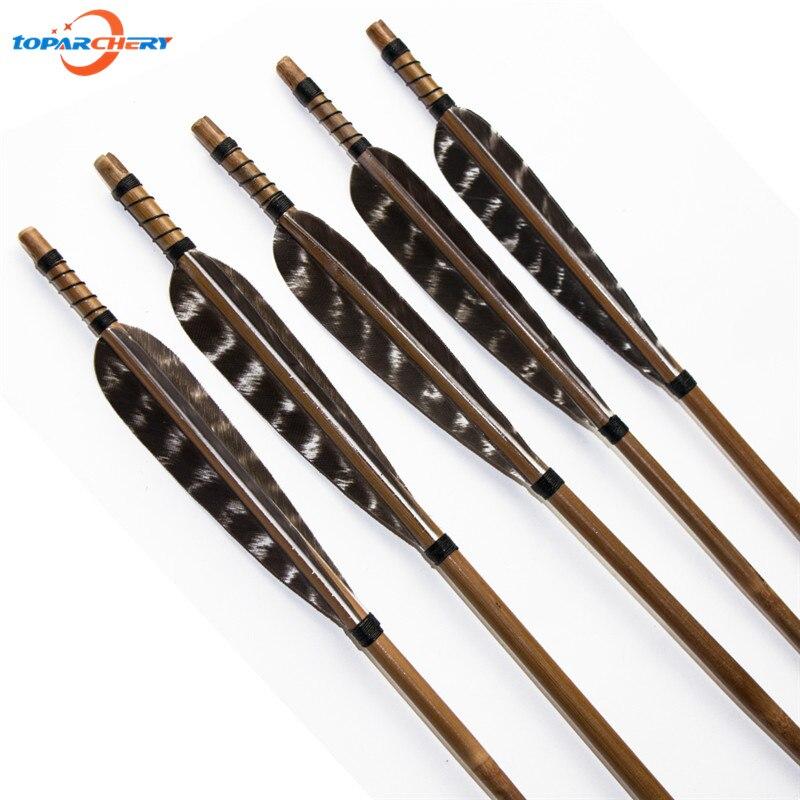 ⊱24 unids tiro con arco tradicional Caza flechas de bambú con 5 ...