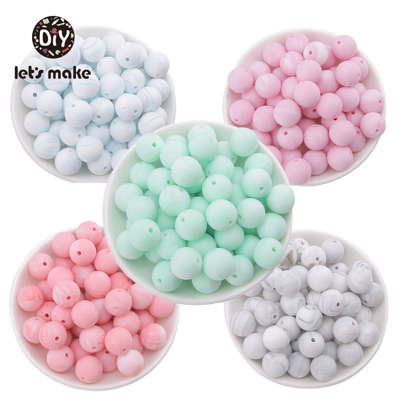 Silicone Beads BPA Free 12mm Round Marble Colors Food Grade Silicone Teethers 50pcs Beads For Pacifier Let's Make Baby Teethers