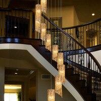 사용자 지정 계단 빛 듀플렉스 빌라 유럽 현대 회전 계단 긴 펜 던 트 조명 침실 거실 램프 wf4241437