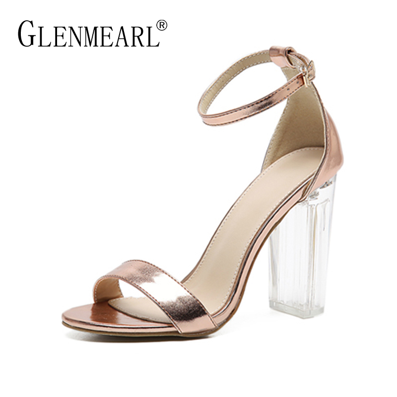 Women Sandals Spring Summer High Heels Sandals Shoes Woman Quality Square Heel Party Wedding Ladies Sandals Shoes Plus Size35-40 plus size 34 43 new platform flat shoes woman spring summer sweet casual women flats bowtie ladies party wedding shoes