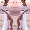 Two Piece Lace Off Shoulder Bikini Cover Up Beach Dress 1