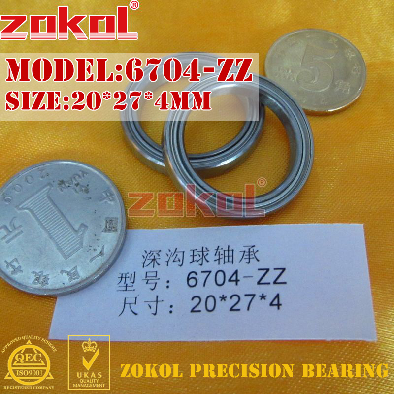 ZOKOL 6704-ZZ Bearing 6704 ZZ 1000704 Deep Groove Ball 6704ZZ Bearing 20*27*4mm