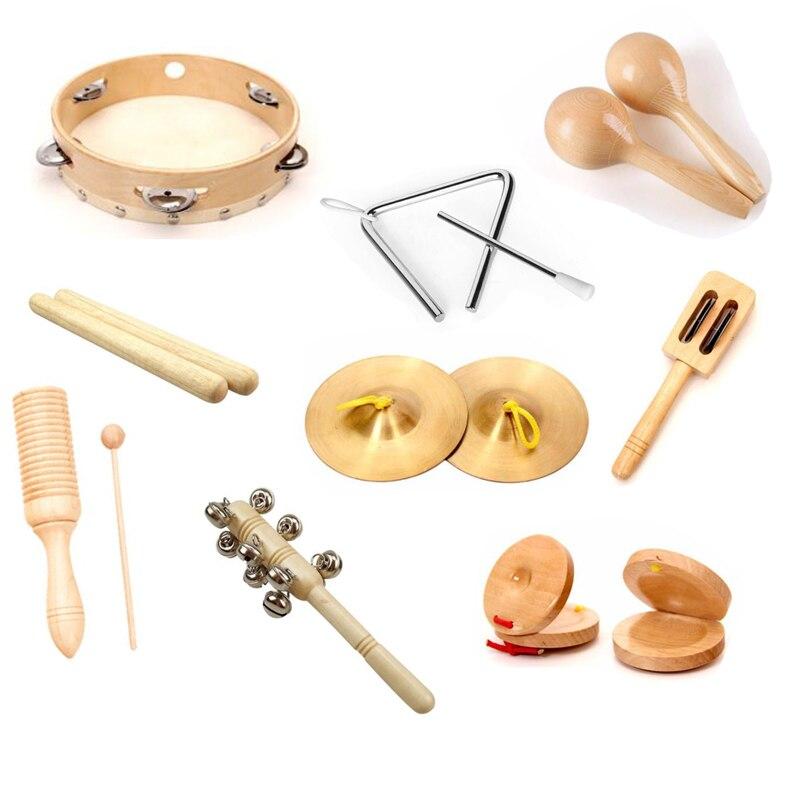 freeship 9 pcs set cor de madeira natural criancas instrumento musical de madeira conjunto de brinquedo